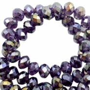 Top faceted beads 8x6mm disc Tawny port purple-half gold pearl high shine coating