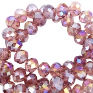 Top faceted beads 8x6mm disc Soft aubergine-diamond high shine coating