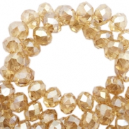 Top faceted beads 6x4mm disc Sandlewood champagne-pearl high shine coating