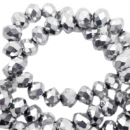 Top faceted beads 4x3mm disc Silver-Pearl Shine Coating
