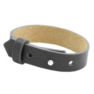 Cuoio bracelets leather 15mm for 20mm cabochon Lava grey