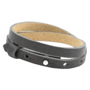 Cuoio bracelets leather 8 mm double for 12mm cabochon Lava grey