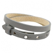 Cuoio bracelets leather 8 mm double for 12mm cabochon Anthracite grey