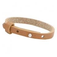 Cuoio bracelets leather 8 mm for 12mm cabochon Cognac brown