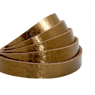 Flat 10 mm DQ leather metallic Bronze Gold