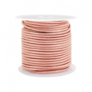 DQ leather round 1 mm Vintage Rose Metallic