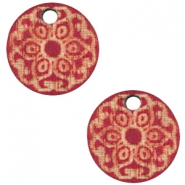 Wooden charm Mandala 12mm Cherry Red