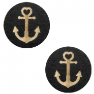 Wooden cabochon Anchor 12mm Black