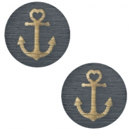 Wooden cabochon Anchor 12mm Dark Grey