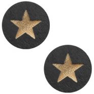 Wooden cabochon Star 12mm Black
