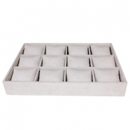 Jewellery display 12-compartments with pillow Country Grey