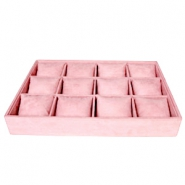 Jewellery display 12-compartments with pillow Vintage Pink