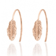 Trendy earrings open ring feather Rose Gold