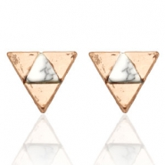 Trendy earrings studs triangle Rose Gold