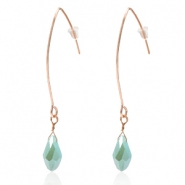 Trendy earrings with drop shaped faceted pendant Rose Gold-Azure Blue Half Gold Pearl Shine Coating