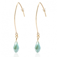 Trendy earrings with drop shaped faceted pendant Gold-Azure Blue Half Gold Pearl Shine Coating