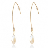 Trendy earrings with drop shaped faceted pendant Gold-Cream Beige Half Topaz Pearl Shine Coating