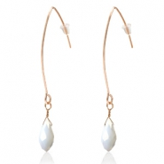 Trendy earrings with drop shaped faceted pendant Rose Gold-White Pearl Shine Coating