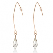 Trendy earrings with drop shaped faceted pendant Rose Gold-Crystal