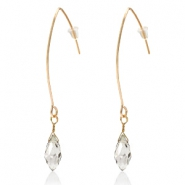 Trendy earrings with drop shaped faceted pendant Gold-Crystal