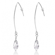 Trendy earrings with drop shaped faceted pendant Silver-Crystal