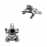 Charms TQ metal frog with crown setting for Swarovski SS24 Antique Silver
