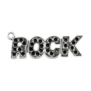 Charms TQ metal ROCK with setting for Swarovski PP32 Antique Silver