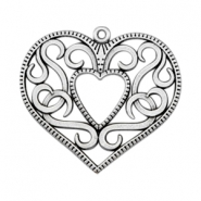 Charms TQ metal heart 50mm Antique Silver