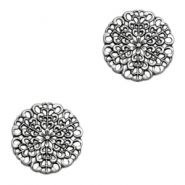 Charms TQ metal round flower Antique Silver