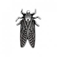 Charms TQ metal cicada beetle Antique Silver