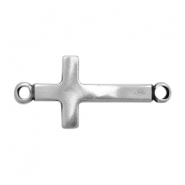 Charms TQ metal connector curved cross Antique Silver