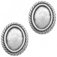Findings TQ metal setting oval (without loop) Antique Silver