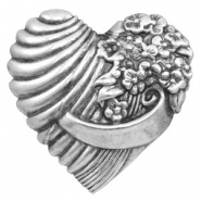 Findings TQ metal heart with flowers Antique Silver