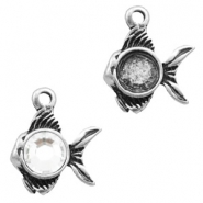 Charms TQ metal fish with setting Antique Silver