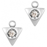 Charms TQ metal triangle with Rhinestones Antique Silver