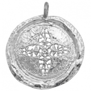 Charms TQ metal flower 44mm round Light Silver