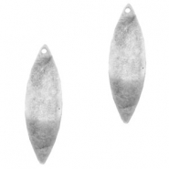 Charms TQ metal wavy oval 32x10mm Antique Silver