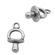 Charms TQ metal dummy teat Antique Silver