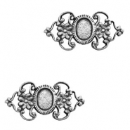 Charms TQ metal connector oval setting flower Antique Silver