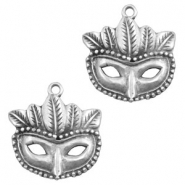 Charms TQ metal mask Antique Silver