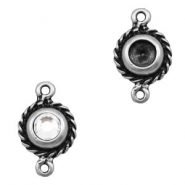 Charms TQ metal connector round 12mm Antique Silver