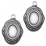 Charms TQ metal oval setting Antique Silver