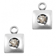 Charms TQ metal square with rhinestone Antique Silver