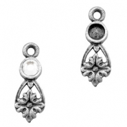 Charms TQ metal with setting Antique Silver