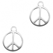 Charms TQ metal peace sign 19mm round Antique Silver