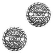 Charms TQ metal connector Oriental coin 17mm Antique Silver