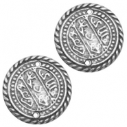 Charms TQ metal connector Oriental coin 27mm Antique Silver