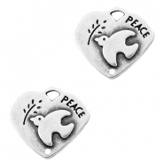 Charms TQ metal heart peace Antique Silver