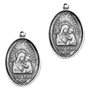 Charms TQ metal oval Maria Jesus Antique Silver