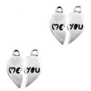 Charms TQ metal heart me & you Antique Silver